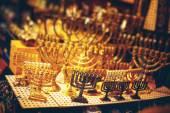 Menorah at the Jerusalem Old City Marketplace — Foto de Stock