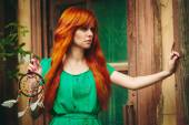 Creative Portrait of Redhead Woman in Green Dress — Stock Photo