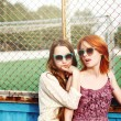 Two Best Friends Young Girls Staying — Stock Photo #77707990