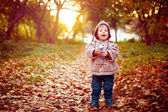 Happy Kid Laughing and Walking in the Park — Stock Photo