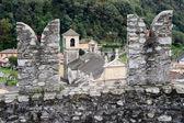 The Collegiate Church and fort Castelgrande at Bellinzona — Stock Photo