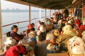 People on the deck of a passenger ship on the river Ayeyarwady o — Stock Photo