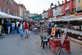 People walking at the market of Rovinj on Croatia — Stock Photo