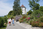 People walking on the park of Ueberlingen on Germany — Stock Photo