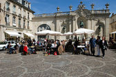 People eating and drinking in a restaurant of Nancy — Foto de Stock