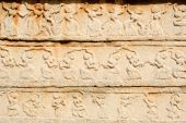 Basrelief artwork of Royal Enclosure temple at Hampi — Stock Photo
