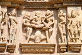 Detail of artwork at the Khajuraho temples — Foto Stock