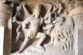 Statues on Ellora caves near Aurangabad in India — Stock Photo