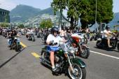 Bykers of the parade to the Swiss Harley Days at Lugano on Switz — Stock Photo