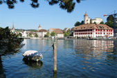 The beautiful medieval town of Schaffhausen and the Rhine river — Stock Photo