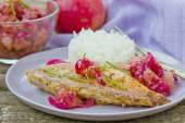 Fried sea perch with apple chutney  — Foto Stock