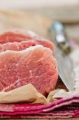 The fresh, crude, cut on pieces pork fillet  — Stock Photo