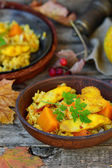 Rice - a curry with fish and pumpkin — Stock Photo