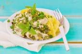 Cod fillet with greens — Stock Photo