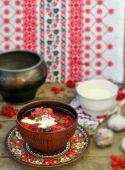 Borsch, traditional Ukrainian beet and sour cream soup — Stock Photo