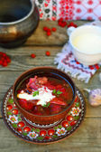 Borsch, traditional Ukrainian beet and sour cream soup  — Stok fotoğraf