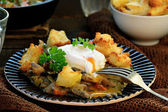 Mushroom ragout with poshed  egg — Stock Photo