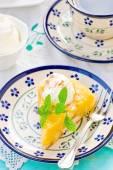 Apples pudding dessert with cream. — Stock Photo