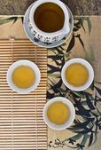 Green tea in the Chinese cups. top view.  — Stock Photo