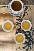 Green tea in the Chinese cups. top view.  — Stok fotoğraf