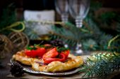 Fillet of a salmon in puff pastry — Stock Photo