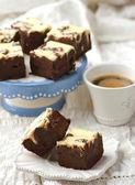 Dilim çikolatalı brownie o — Stok fotoğraf