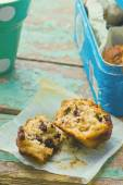 Banana muffins with slices of chocolate — Stock Photo