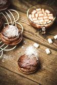 Chocolate cakes bouchee  of a cream puff  — Foto de Stock