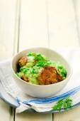 Cutlets with sauce from peas  — Stock Photo