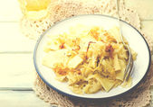 Noodles with stewed cabbage.  — Stok fotoğraf