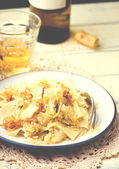 Noodles with stewed cabbage.  — Stock Photo