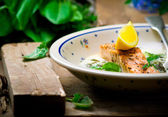 Salmon with sauce from a sorrel.  — Stock Photo