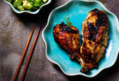The chicken baked in Asian style and cucumber salad  — Stock Photo