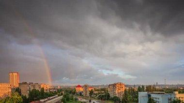 Rainbow in the city — Stock Video