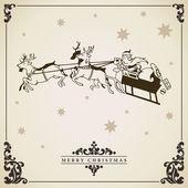 Santa Claus rides in a sleigh vector. — Stock Vector