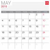 May 2015 calendar — Stock Vector