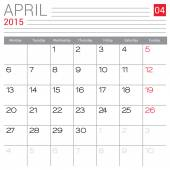 April 2015 kalender — Stockvektor