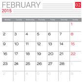 Calendário de fevereiro de 2015 — Vetor de Stock