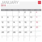 January 2015 calendar — Vector de stock