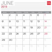 June 2015 calendar — Stock Vector