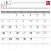 July 2015 calendar — Stock Vector
