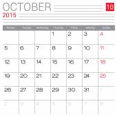 October 2015 calendar — Stock Vector