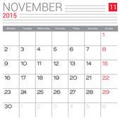 November 2015 calendar — Stock Vector
