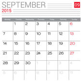 September 2015 calendar — Stock Vector