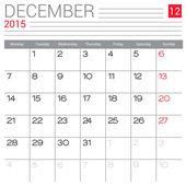 December 2015 calendar — Stock Vector