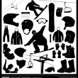 Постер, плакат: Snowboarding elements vector set