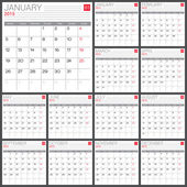Calendar 2015 vector desing template — Stock Vector