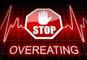 Stop overeating sign and text — Stock Photo