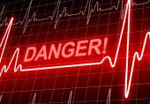 DANGER - written on red heart rate monitor — Stock Photo