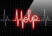 HELP written on black heart rate monitor — Stock Photo